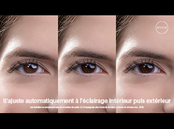 Image des yeux qui s'ajustent au moyen des lentilles ACUVUE(MD) OASYS avec Transitions(TM)